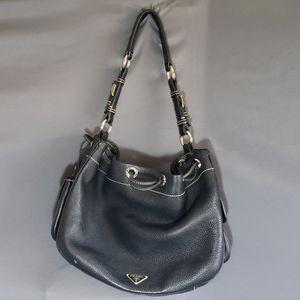 Prada Black Leather Hobo Drawstring Medium Purse